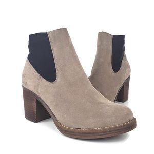 Anthro MTNG Originals Suede Chunky Heel Booties